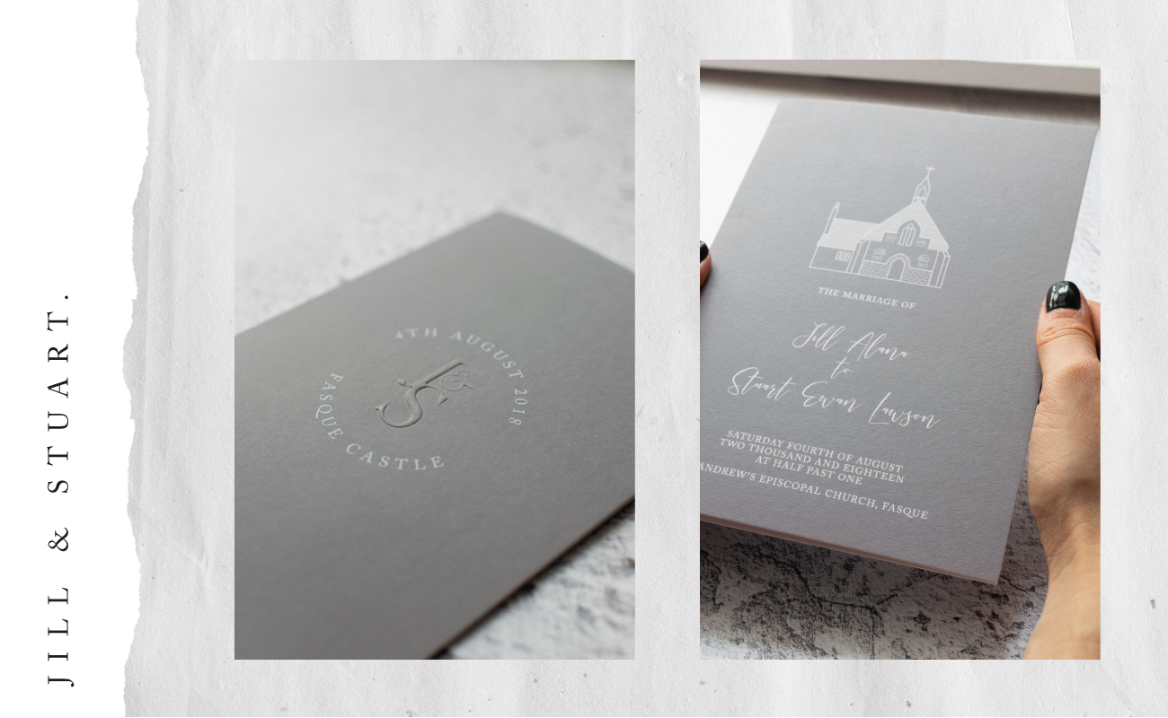 Jill and stuart bespoke wedding stationery