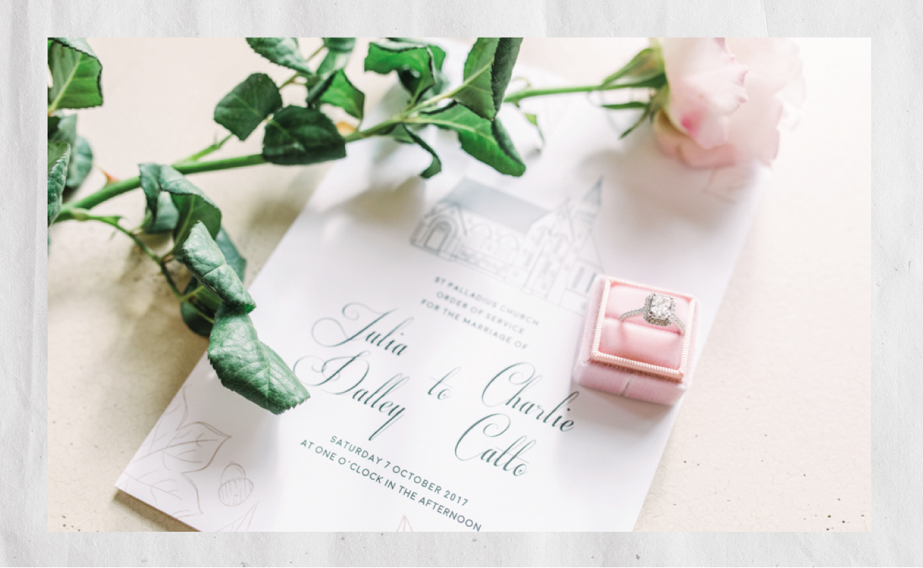 julia and charlie bespoke wedding stationery design